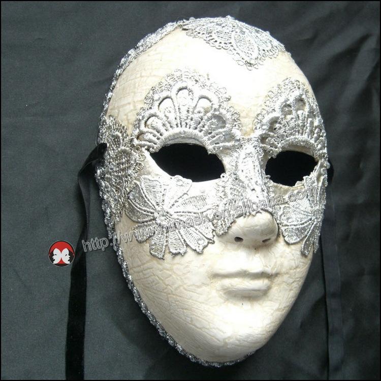 Porcelain Venetian Mask Ornament Miniature Bauta Mask