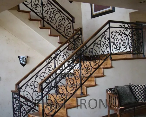 Lag Dog Staircase Wrought Iron And Wood Hand Railings Interior | Wood And Rod Iron Railing | Wooden | Dark Stained | Wrought Iron | Pipe | Simple Modern