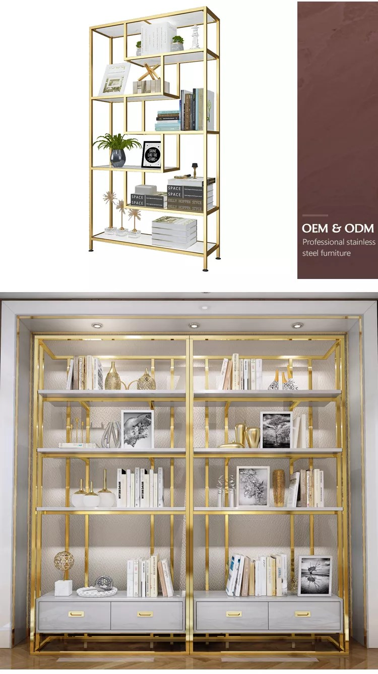 Open Back Home Bookshelf Furniture Modern Luxury Office