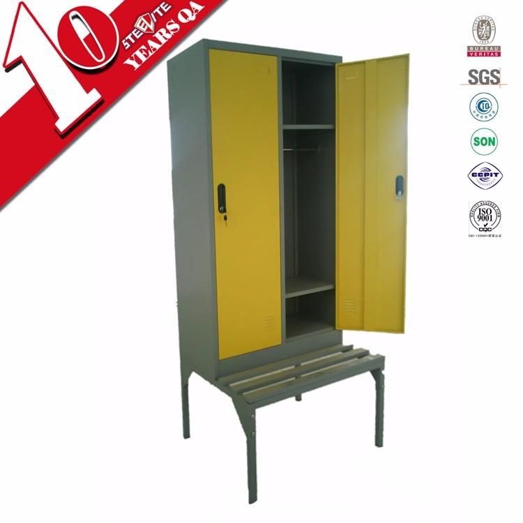 Hot Indian Bedroom Design 2 Door Clothes Cupboard With Bench