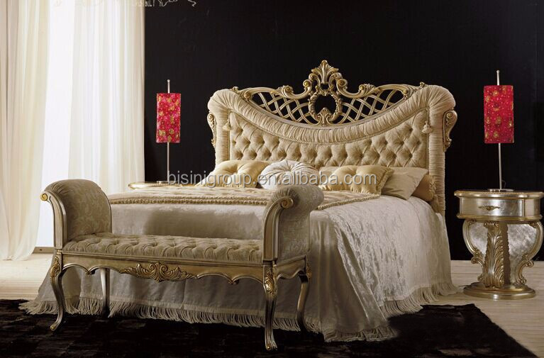 New Arrival Luxurious Solid Wood Golden Carving King Size