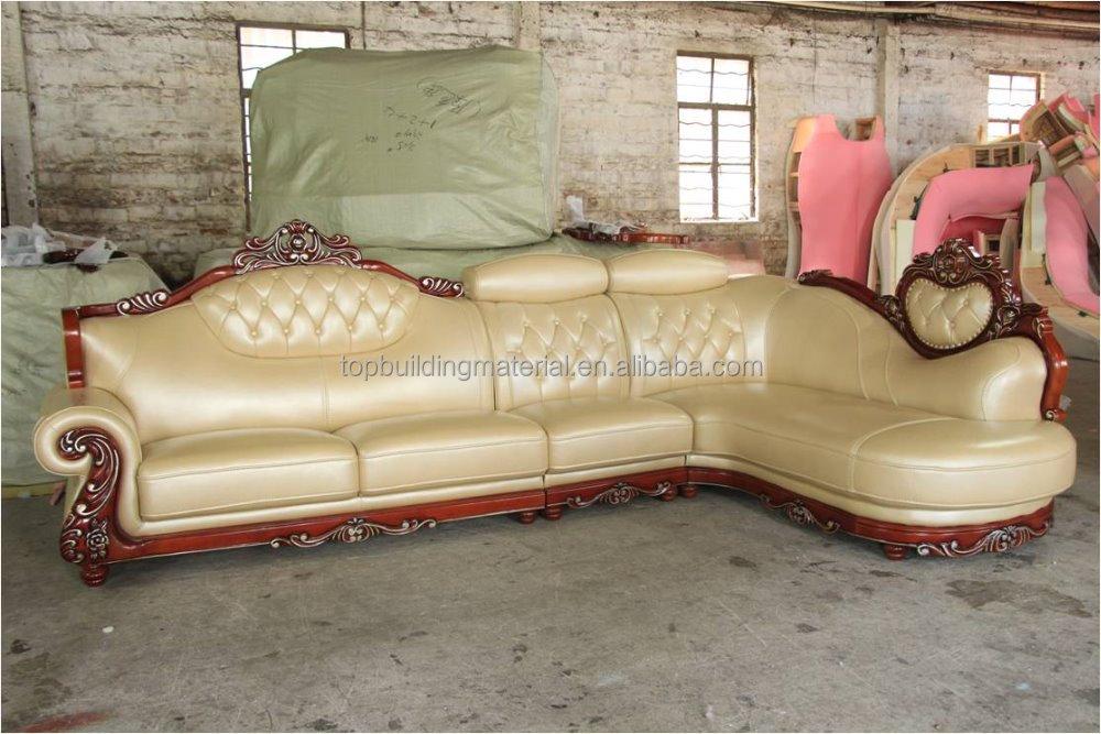Italian Leather Sofa Wood Carved Design