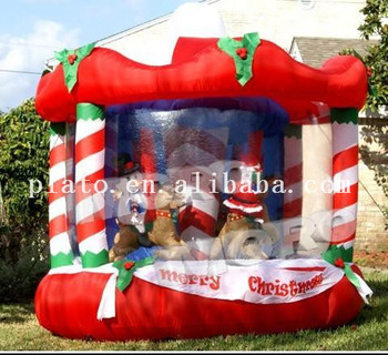 Kids Parking Inflatable Christmas Carousel Rides For Outdoor Decoration