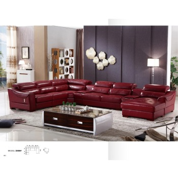 dz896 grand u forme italien de luxe moderne en cuir de vache rouge salon sectionnel canape
