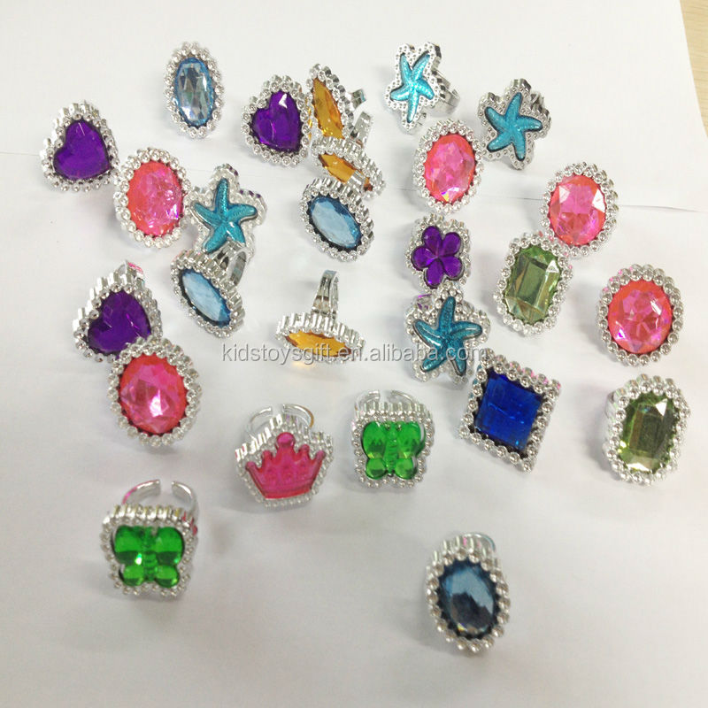 Shaped Gem Stone Ringskids Plastic Ring Toys Buy Cheap