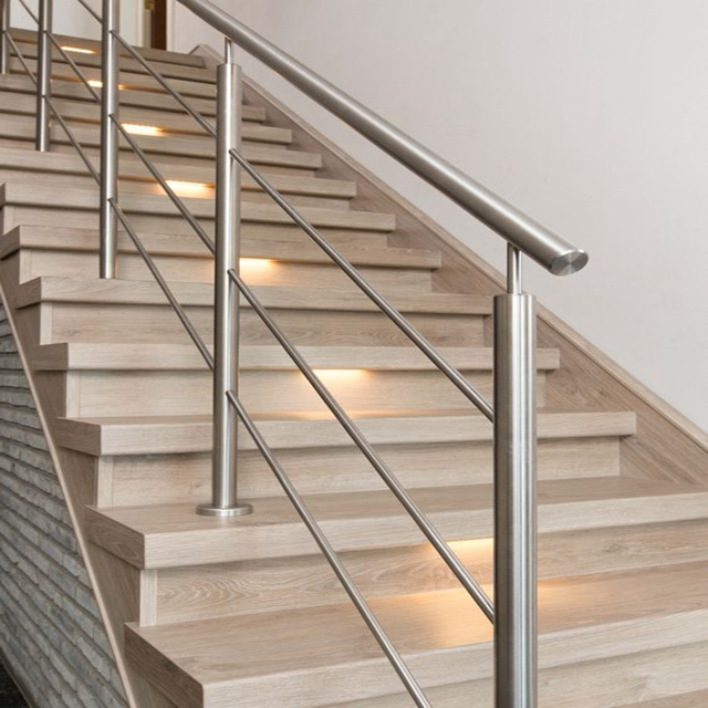 Duplex House Stair Railing With Interior Stainless Steel Railing   Steel Railing For Steps   Balustrade   Simple   Fabrication   Carbon Steel   Wooden