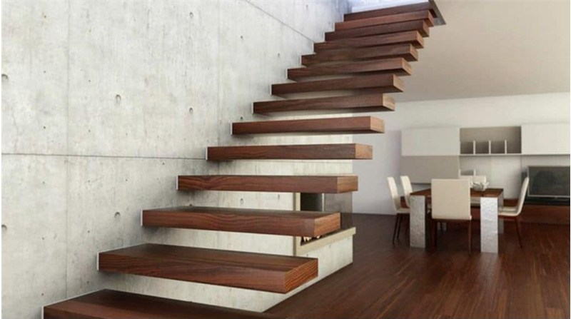 Invisible Wall Side Stringer Stairs Indoor Wood Staircase Design | Stairs Side Wall Design | Modern | Stone | Pop | Wallpaper | Stair Pattern