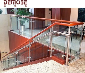 Modern Glass Railing With Wood Handrail For Indoor Stairs Buy | Indoor Stair Railings Modern | Contemporary | Farmhouse | Rail | Glass | Aircraft Cable