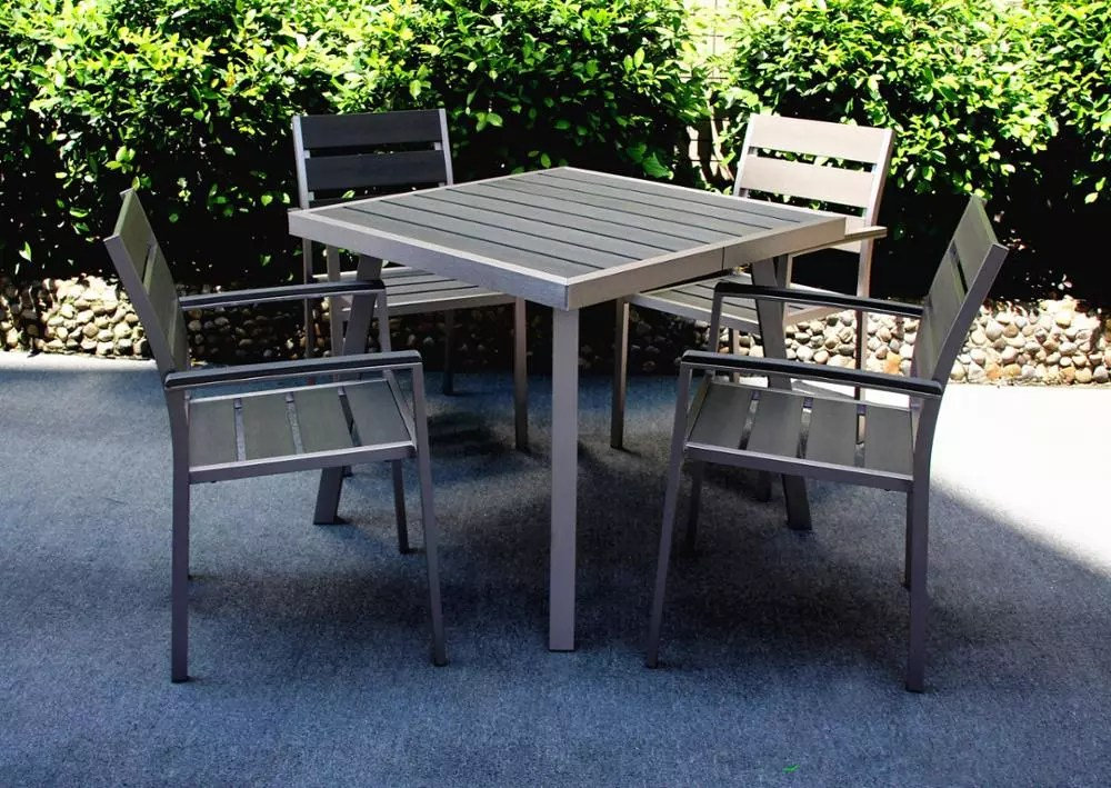 lotus broyhill top sale modern patio wpc garden brushed aluminum table and chair cafe square dining sets outdoor furniture china buy outdoor