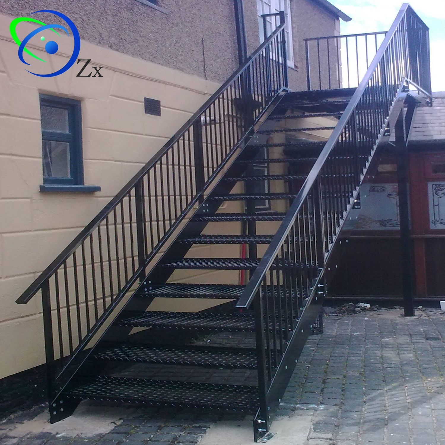 Outdoor Metal Fire Escape Staircase Exterior Prefab Mild | Outdoor Steps For Sale