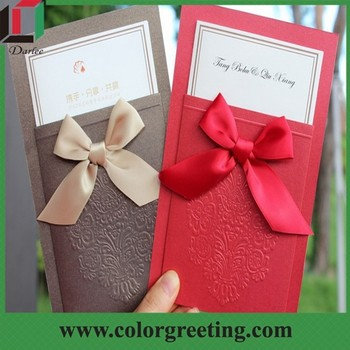 Red And Black Extravagant Wedding Invitations Card Royal Bag Invitation Luxury Characteristic Ribbon