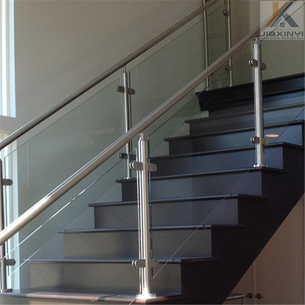 Stainless Steel Glass Railing Posts Balustrade For Stair Balcony | Stainless Steel Glass Staircase | Transparent | Handle | Powder Coated Steel | Open Tread | Black Stained
