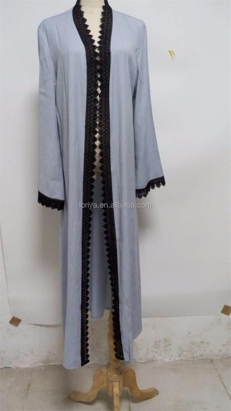 Jilbab Simple Abaya Kimono Front Open Dubai Style Muslim