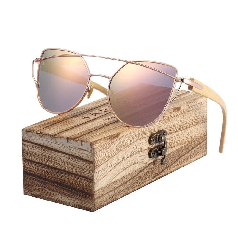 HTB18NyTgnTI8KJjSsphq6AFppXaY BARCUR Bamboo Cat Eye Sunglasses Polarized Metal Frame Wood Glasses Lady Luxury Fashion Sun Shades With Box Free