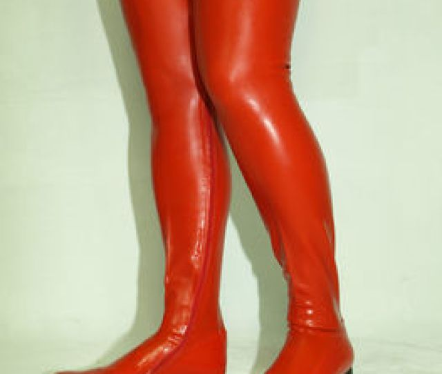 High Heels Boots Latex Rubber 0cm Hels Size 37 46