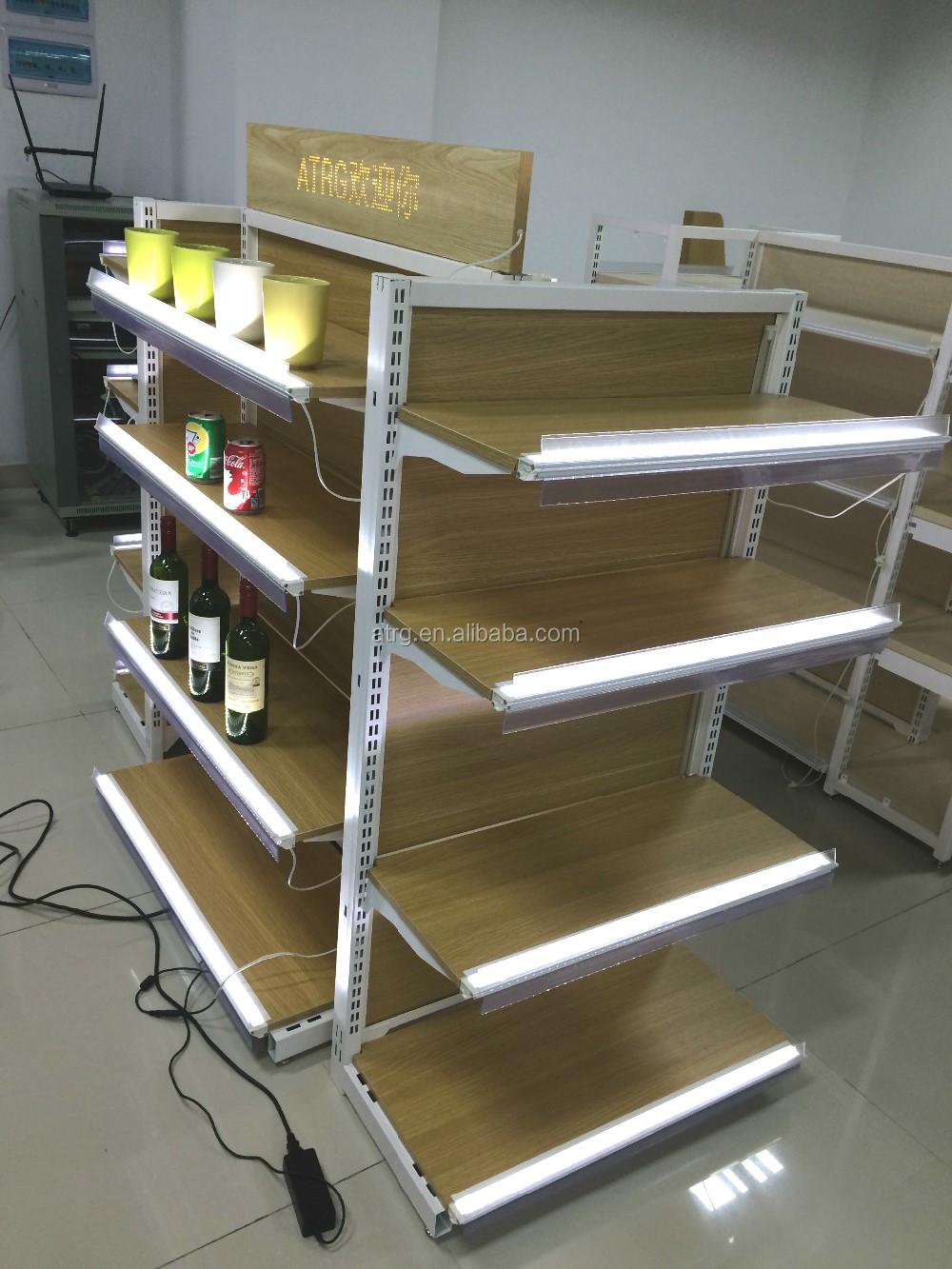 etagere gondola en bois double face a eclairage led offre speciale buy up lighting gondola shelving led wood gondola shelves product on alibaba com