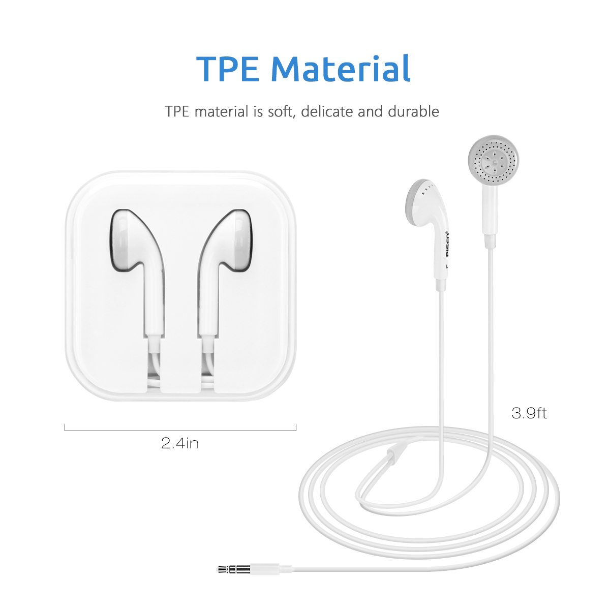 Simple Design White Color Hifi Stereo Type Earphone With 3