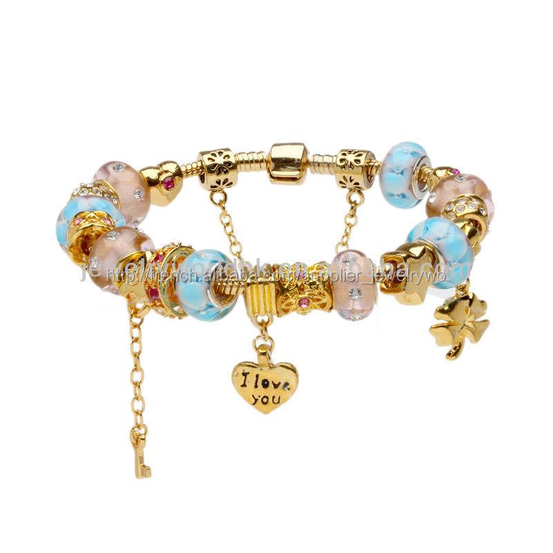 Bijoux Verre De Murano Perles Charme Plaqu Or Bracelet