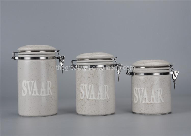 cylindrique ensemble de bidon creme europeenne sucre the cafe farine pot de cuisine en ceramique
