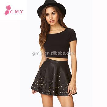 Sexy Girl Black Leather Mini Shippies Skirts