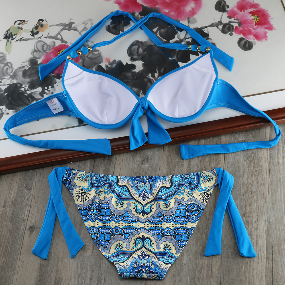 HTB1Di4iggfH8KJjy1zcq6ATzpXa0 Bikini Solid Strappy Bandage Bikinis Set White Push Up Bikini Swimwear Bandeau Brazilian Swimsuit Bathing Suit Maillot De Bain