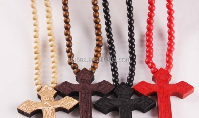 Wooden Bead Necklace With Cross Wooden Thing