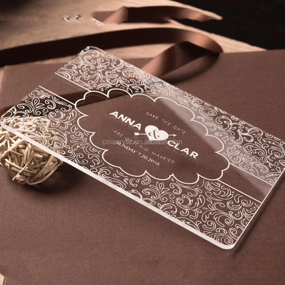 carte d invitation de mariage personnalisee avec impression et gravure de logo carton avec verre de cristal acrylique buy carte d invitation de