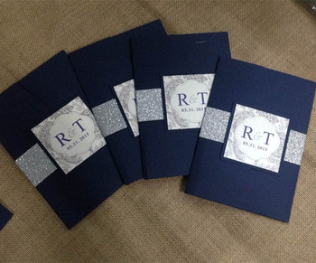 Navy Blue Wedding Invitation Csrd With Glitter And Pocket