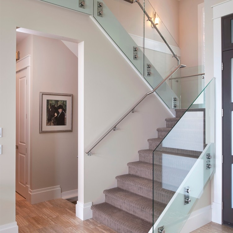 Custom Design Stainless Steel Tubular Glass Clear Stair Handrail   Clear Handrails For Stairs   Steel   Clear Acrylic   Wood   Riser   Metal
