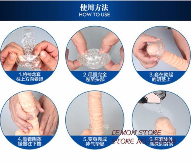 Reusable Penis Sleeve Cock Ring Dragon Condom Extended Long Lasting Stay Hard Delaying Ejaculation Sex Toy