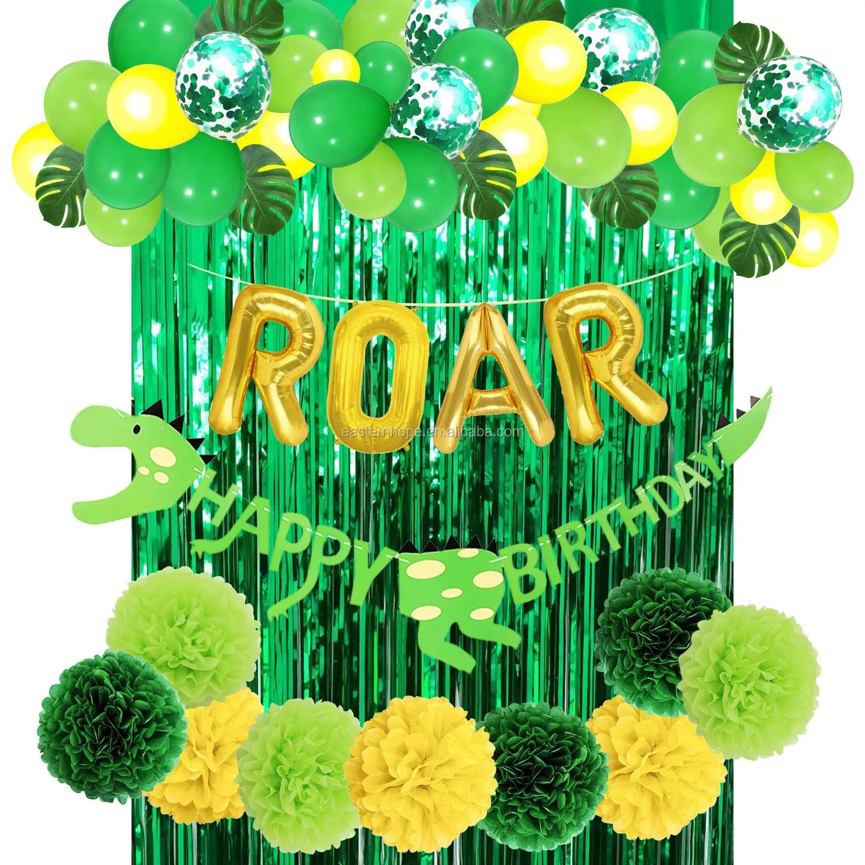 dinosaur banner roar letter foil latex confetti balloons green curtain kids dinosaur birthday party favors supplies view dinosaur party favors