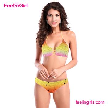 2016 Latest Gold Color Sexy Teenage Girls Swimwear