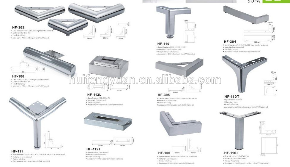 Corner Furniture Sofa Hardware Parts Metal Stainless Steel