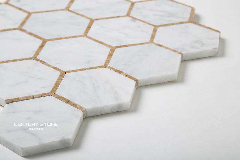 carrelage mosaique blanc hexagonal en nid d abeille 1 piece 3 pouces melange de pieces or imperial buy carreau de mosaique en nid d abeille carreau