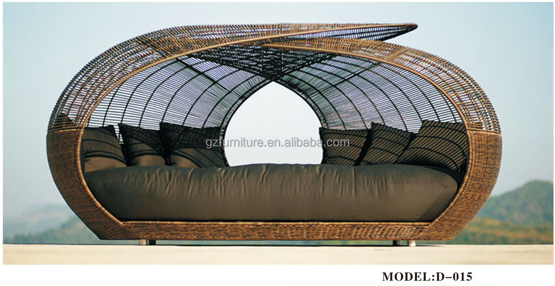 Black Resin Wicker Outdoor Patio Cabana Daybed Furniture