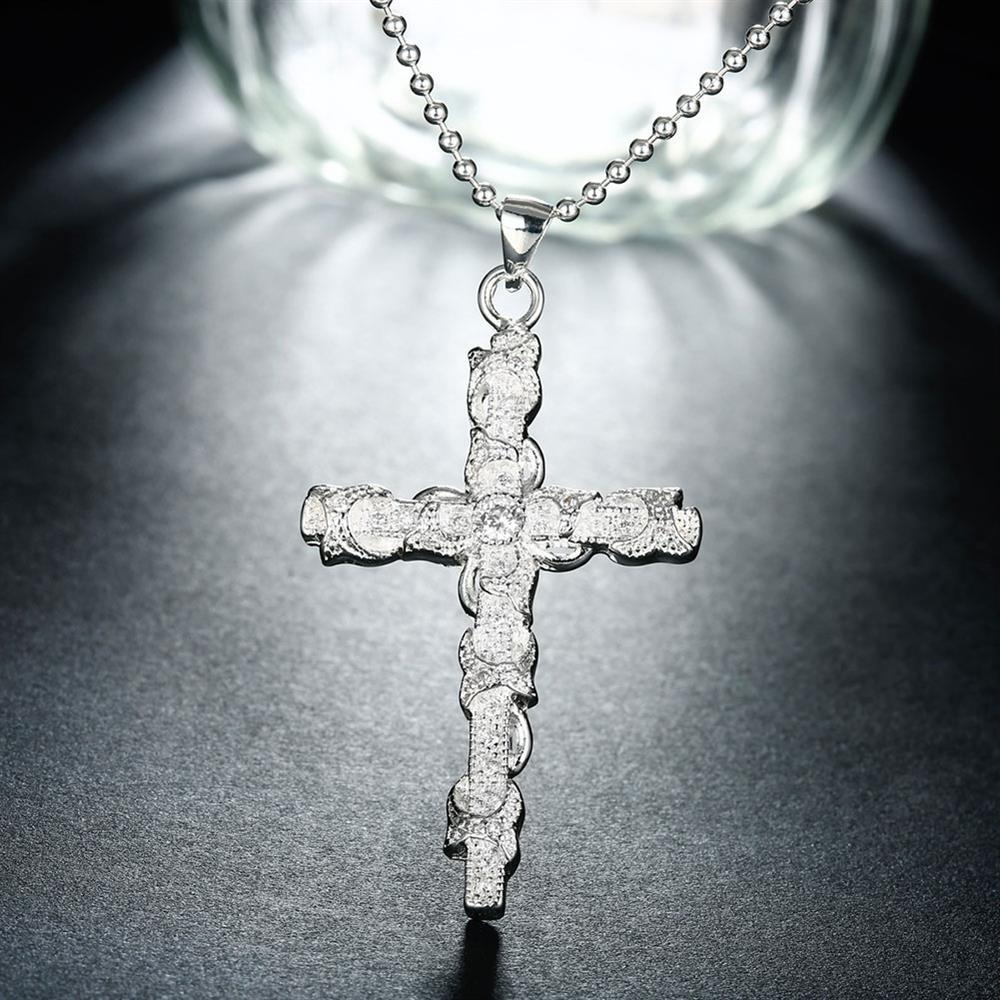 Tryme Cross Womenmen Silver Chain Pendant Necklace Charm