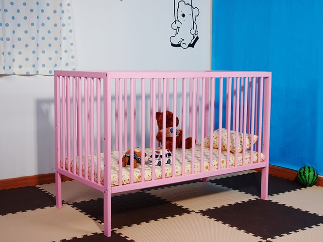 Solid Pine Baby Bed Wooden Cribs India Simple Cot