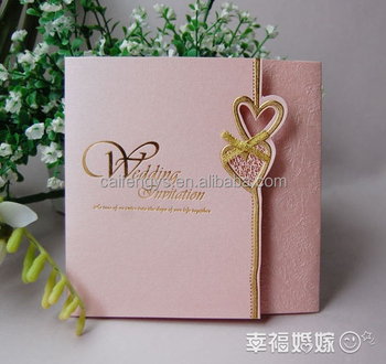 Custom Tracing Paper Pink Green Wedding Invitation With Heart Invitations