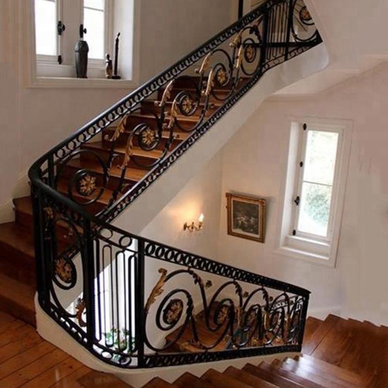 Indoor Wrought Cast Iron Stair Railing View Indoor Cast Iron | Cast Iron Stair Railing | Residential | Horizontal | Chrome Picket Interior | Custom | Iron Baluster