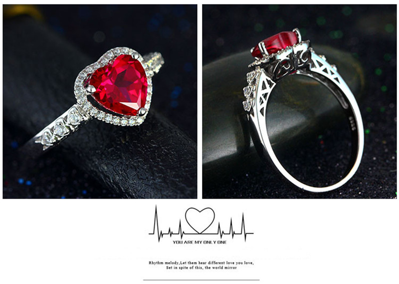 HTB1MBsWg8fH8KJjy1Xbq6zLdXXaY Red Ruby Heart Shape Gemstone Sterling 925 Silver Wedding Rings For Women Bridal Fine Jewelry Engagement Bague Accessories