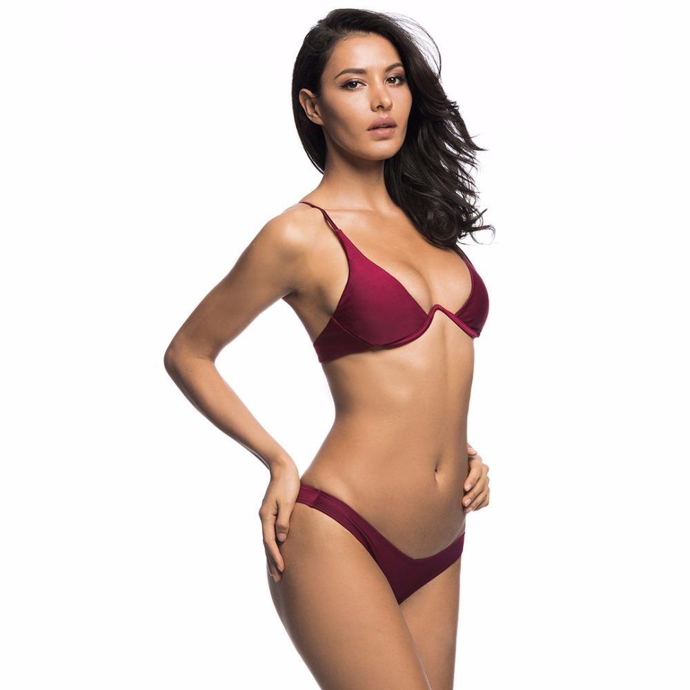 Sexy V-bar Underwired Bikini 2019 Female Swimsuit Women Swimwear Two-piece V shape Wire Bikini set Bather Bathing Suit Swim V439