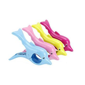 dauphin forme serviette clips en plastique taille jumbo pour chaise de plage