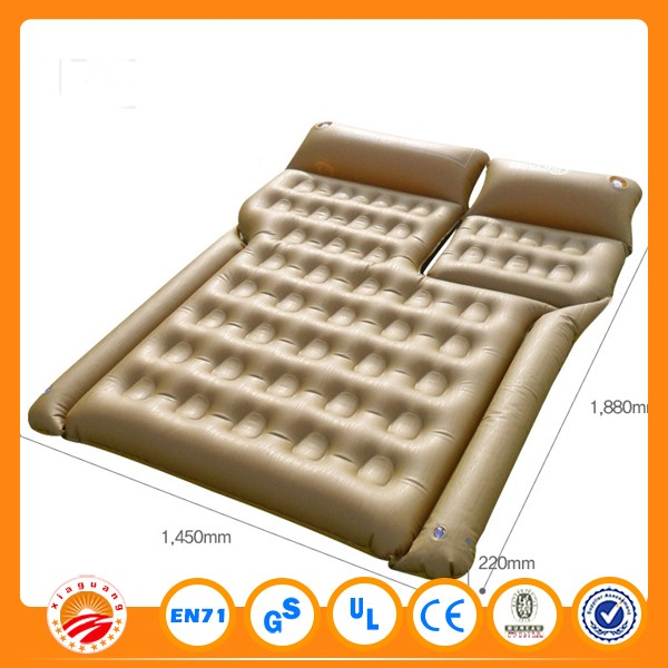 Pvc Flocking Inflatable Car Bed Air Mattress Yellow Color