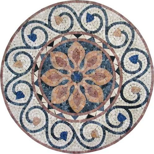 motif de table en mosaique murale mosaique a la main en pierre ronde coupe a la main buy mosaique murale motif de table mosaique murale mosaique de
