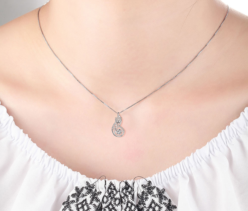 HTB1Pl9Rg8TH8KJjy0Fiq6ARsXXay Effie Queen Crystal Women S925 Sterling Silver Necklaces Cute Fox Pendant Necklace for Women Lady Girl Jewelry Best Gift BN53