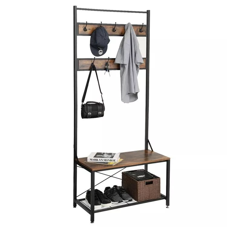 vasagle industrial vintage coat shoe rack bench metal coat and shoe stand with hooks and storage shelf buy coat and shoe stand industrial vintage