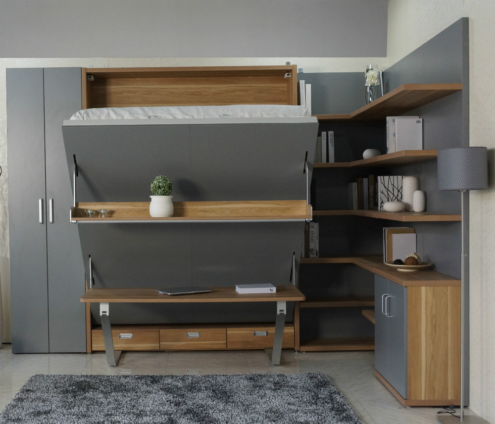 ideas para convertir un apartaestudio cama de pared plegable