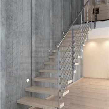 Modern Cheaper One Side Railing Straight Staircase One Side Wall   Side Railing For Stairs   Wooden   Interior   Spanish Style   Chicken Wire   Modern Aluminium
