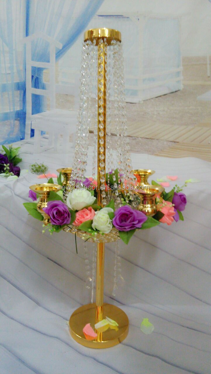 Tall Gold Table Centerpieces Metal Flower Stand For