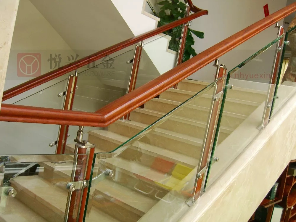 Indoor Stainless Steel And Wood Handrail For Glass Stair Railings | Wood And Steel Handrail | Outdoor | Column | Stainless Steel | Balustrade | Ultra Modern Steel